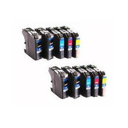 compatible Set 10x inkt cartridge voor Brother LC227 XL LC225 van Huismerk