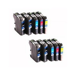 compatible Set 10x inkt cartridge voor Brother LC123 van Huismerk