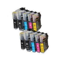 compatible Set 10x inkt cartridge voor Brother LC980-LC1100 van Huismerk