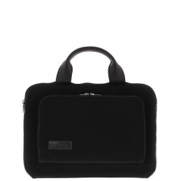"BOND 14"" Toploader bag Black canvas leather"