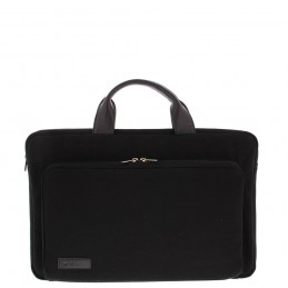 "BOND 17.3"" Toploader bag Black canvas leather"