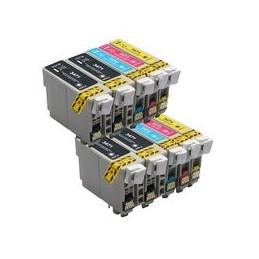 Set 10x Kompatibel Inkt Cartridge Voor Epson 34xl Wf3720 Van Huismerk