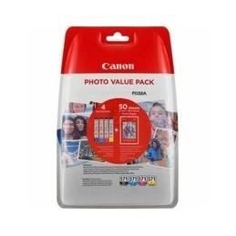 Origineel Canon Cli-571 Value Pack Blister 4x6 Foto Papier Pp-201 50 Blad + Cyan Magenta Geel & Zwa